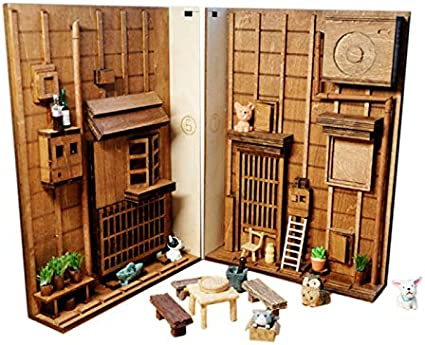 Amazon Com Eclenyes Japanese Style Street Rear Lane Bookcase Diy Wooden Assembled Model Bookshelf With Light S Toys Games