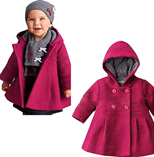 EGELEXY Baby Girl's Hooded Wool Cotton Trench Coat Outwear 24-30months ()
