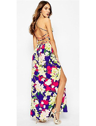 PU&PU Robe Aux femmes Swing Sexy , Imprimé Licou Maxi Polyester , multi-color-m , multi-color-m