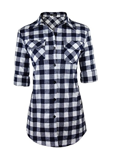 Oyamiki Womens Long Sleeve Collared Button Down Plaid Flannel Shirt Navy/S (Navy Plaid Flannel)