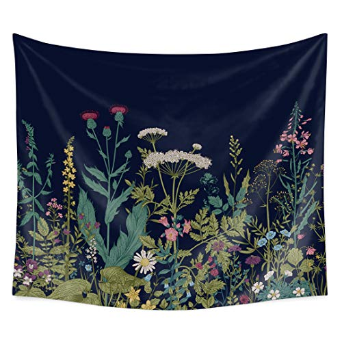 QCWN Indian Bohemian Colorful Floral Border Herbs and Wild Flowers Botanical Engraving Style Wall Hanging Tapestry for Bedroom Living Room Dorm (22, 59