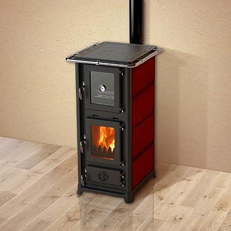 Estufa de leña Olympia Plus con diseño de tubo - Modelo: Rojo oscuro: Amazon.es: Bricolaje y herramientas