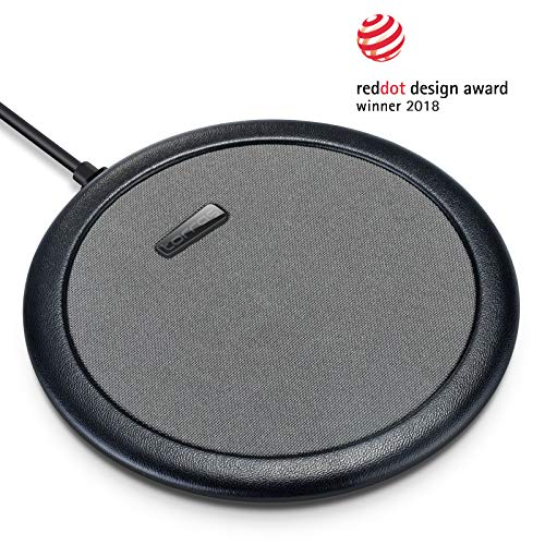 TORRAS Wireless Charger, Qi-Certified 7.5W Fast Leather Edge Cloth Wireless Charger Compatible with iPhone Xs/XS Max/XR / X / 8/8 Plus, Samsung Galaxy Note 9 / S9 / S9 Plus / S8 and More