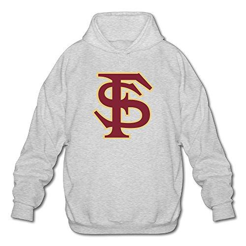 PHOEB Mens Sportswear Drawstring Hooded Sweatshirt,Florida State University Ash Large