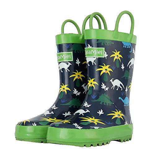 CasaMiel Kid&Toddler Boys Rain Boots for Children, Handcrafted Rubber Boots for Girls, Graphic Pattern ()