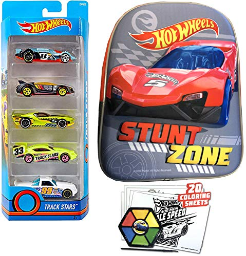 Stunt Zone Hot Wheels Play Set Racing Fun Car Backpack Bundled with 5-Pack Vehicles Car Theme Coloring Sheets in School Mini Bag 2 Items