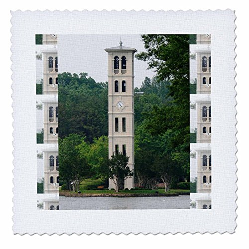 3dRose qs_61719_2 Bell Tower at Furman University, Greenville-Quilt Square, 6 by 6-Inch (Tower University)