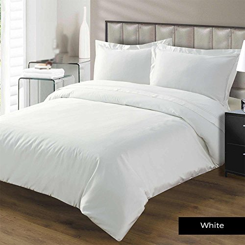 Kotton Culture Premium Duvet Cover Set 3 Piece with Zipper & Corner Ties 100% Egyptian Cotton 600 Thread Count Luxurious 1 Duvet Cover 2 Pillow Shams (Queen/Full, White)