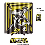 vanfan bath sets with Polyester rugs and shower curtain coal miner with pneumatic rock drill working shower curtains sets bathroom 66 x 72 inches&23.6 x 15.7 inches(Free 1 towel and 12 hooks)