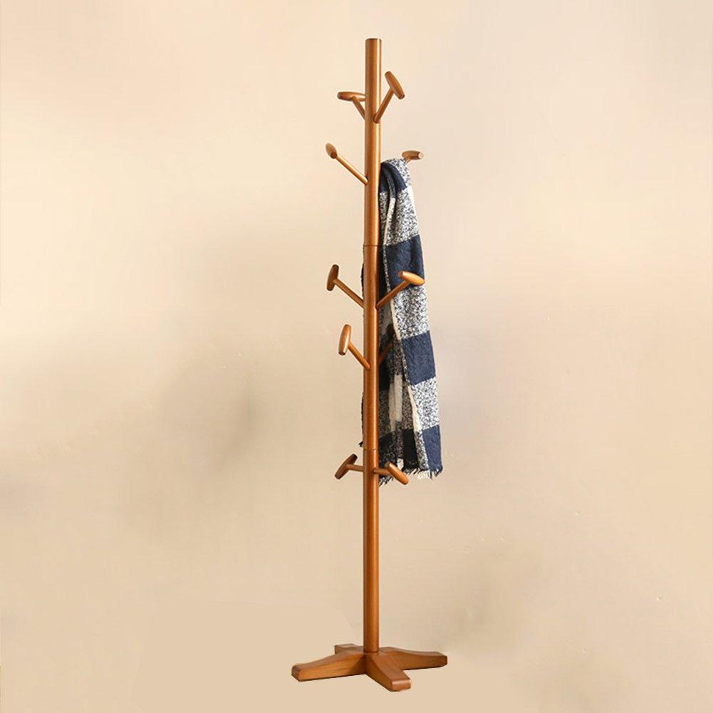 JIANFEI ハンガーラック 帽子とコート ラック スタンドハンガー 創造性 10ドラムフック ボトムシート 安定した、 木材 (色 : Brown)  Brown B07H8GNN8Y