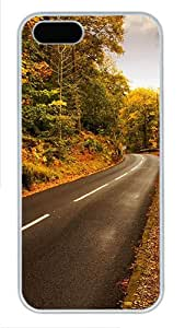 iPhone 5S Cases & Covers -Autumn highway Custom PC Hard Case Cover for iPhone 5/5S ¨C White