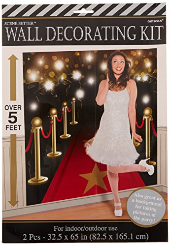Movie Night Hollywood Themed Party Down the Red Carpet Scene Setters Wall Decorating Kit, Vinyl, 65 Inches x 32 Feet, Pack of 2