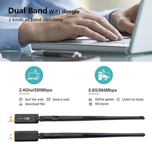 Ocamo - Adaptador de red de doble banda 2,4 G/5,8 G 1200 Mbps inalámbrico USB Wifi Dongle adaptador con antena de 5 dBi