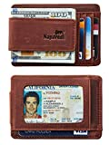 NapaWalli Genuine Magnetic Napa Leather Front Pocket Money Clip Slim Minimalist Wallet Made with Powerful RARE EARTH Magnets Plus RFID Blocking (Crazy Horse Texas Brown)