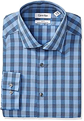 Calvin Klein Men's Slim Fit Non Iron Large Gingham Shirt
