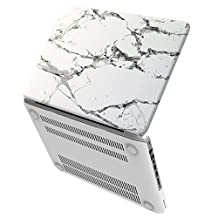 "iBenzer Basic Soft-Touch Series Plastic Hard Case Cover for Old Macbook Pro 13"" with CD-ROM (A1278), White Marble CA-MP13MBWH"
