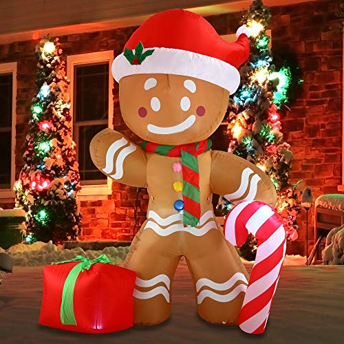 Joiedomi Christmas Inflatable Decoration 8 FT Gingerbread Man with Build-in LEDs Blow Up Self-Inflatable for Christmas, Party Indoor, Outdoor, Yard, Garden, Lawn Décor. (Christmas Gingerbread Decorations Man)
