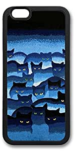 iPhone 6 Cases, Personalized Custom Soft TPU Black Edge Case Cover for New iPhone 6 4.7 inch Black Blue Cats
