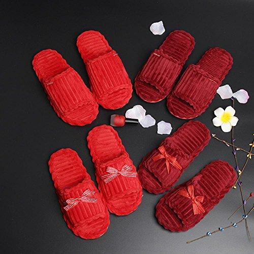 Y&HUNTUO Ciabatte rosse da sposa / ciabatte da sposa rosse / paio di ciabatte da casa , 35-37