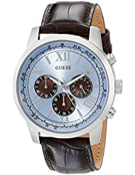 GUESS Mens U0380G6 Dressy Stainless Steel Multi-Function Watch with Chronograph Dial and Genuine Leather Strap...