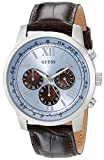 GUESS Men's U0380G6 Dressy Stainless Steel Multi-Function Watch with Chronograph Dial and Genuine Leather Strap Buckle