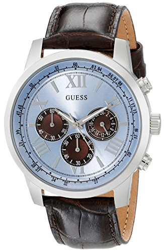 GUESS-Mens-U0380G6-Dressy-Stainless-Steel-Multi-Function-Watch-with-Chronograph-Dial-and-Genuine-Leather-Strap-Buckle