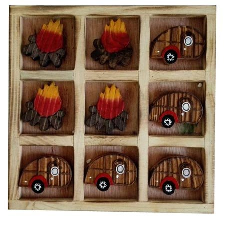 (Wood Crafted Collectible Tic Tac Toe Travel Board Tray Set, Camping Campfire RV, 8