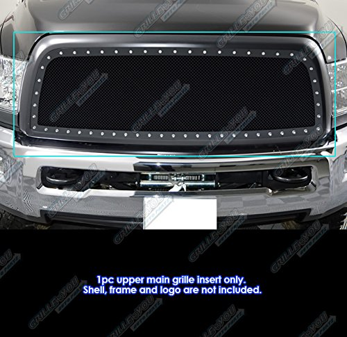 APS Compatible with 2013-2018 Ram 2500 3500 Stainless Steel Black Mesh Rivet Stud Mesh Grille Insert DL6330H