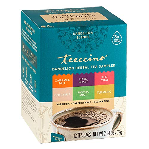 Teeccino Dandelion Tea Sampler – Caramel, Coconut, Dark Roast, Mocha Mint, Red Chai, Turmeric – Roasted Herbal Tea That…