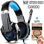 CIC G9000 Fone de ouvido Gamer Headset Reduz Ruídos Supra-Auricular Microfone Luz LED PC PS4 Xbox Laptop Nintendo PUBG Azul