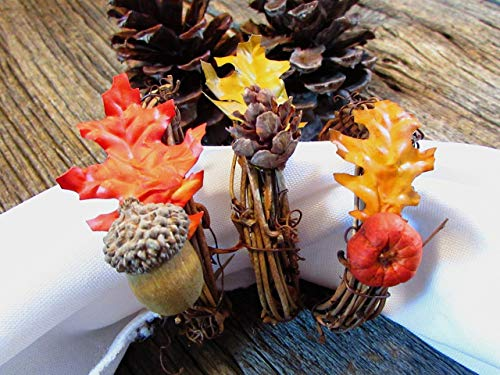 Autumn Leaf Napkin Ring Holder- Pinecone Acorn Pumpkin- Fall Table Decor- Thanksgiving Decoration (Set of 4, 6, 8, 12) by Red Garnet Studio