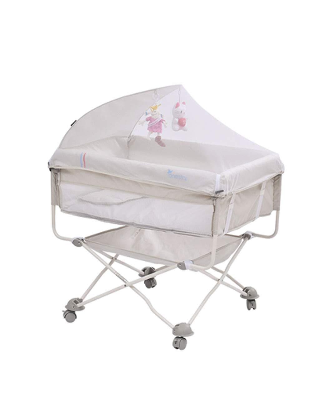 ベビーベッド、マットレスとの旅行携帯用子供のベッドの折りたたみ式ベッドのベッドのベビーベッド (色 : ライトグレー)   B07Q17C8KZ