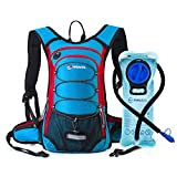 MIRACOL Hydration Backpack with 2L Water Bladder, Thermal Insulation Pack Keeps Liquid Cool up to 4 Hours, Prefect Outdoor Gear for Skiing, Running, Hiking, Cycling (Blue and Red)