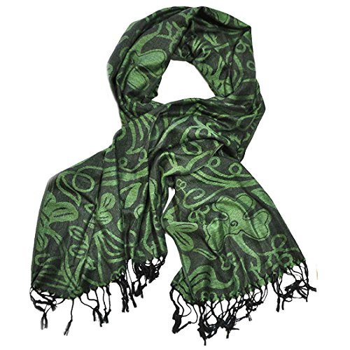 Green And Black Shamrock Pashmina Scarf by Carrolls Irish Gifts (Image #1)