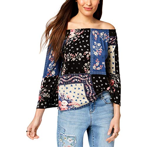 (Style & Co. Womens Petites Printed Off-The-Shoulder Blouse Multi PL)