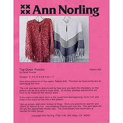 Amazon Ann Norling Knitting Patterns Ponchos Top Down 62 Arts