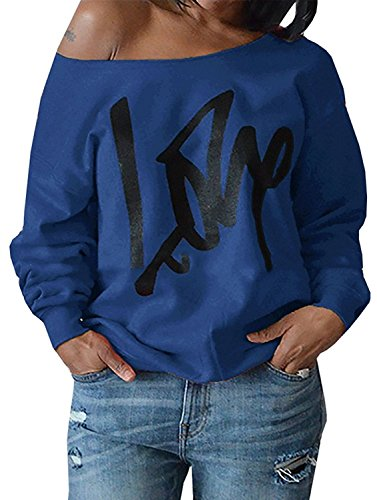 Womens Off Shoulder Pullover Sweatshirt Love Letter Printed X-Large Royal Blue