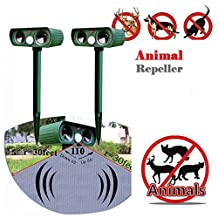 CALISTOUS Ultrasonic Animal Pest Repeller Solar Powered Garden Cat Dog Fox Scarer Deterrent