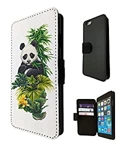 957 - Cool cute fun panda nature wildlife green plants flowers kawaii Design iphone 5 5S Fashion Trend TPU Leather Flip Case Full Case Flip Credit Card TPU Leather Purse Pouch Defender Stand Cover