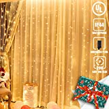 300 LED Window Curtain String Lights with Memory 8 Modes Safety Plug-in, 9.84ft x 9.84ft Warm White Fairy Twinkle Lights for Indoor/Outdoor Decorations Wedding Party Bedroom Christmas Wall Garden
