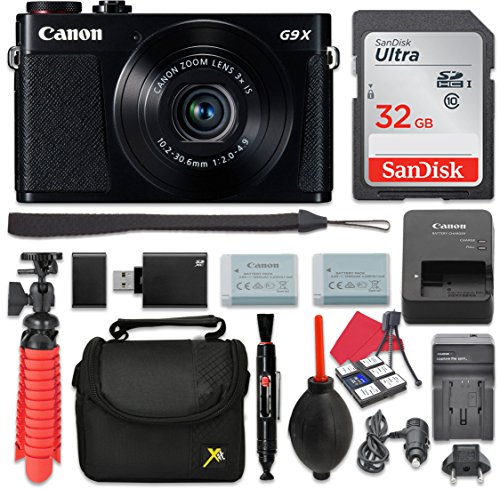 Canon PowerShot G9 X Mark II Digital Camera (Black) 3x Optical Zoom + 32GB SD + Spare Battery + Complete Accessory Bundle