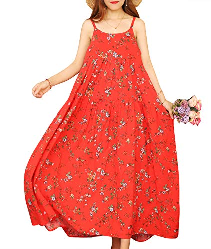 YESNO Women Casual Loose Bohemian Floral Print Empire Waist Spaghetti Strap Long Maxi Summer Beach Swing Dress E75 (L, E75 As Picture12) ()