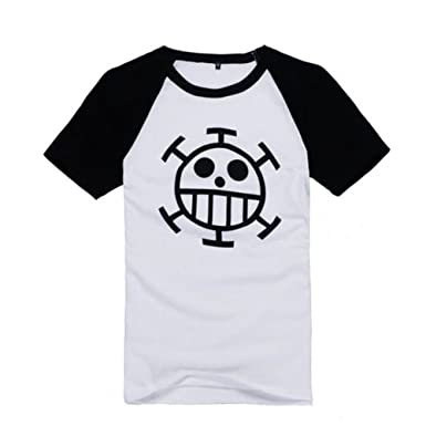 4bb9a4a1e F&C One Piece Anime Trafalgar Law Short Sleeve T-shirt Cosplay Costume (L,  White): Amazon.co.uk: Clothing