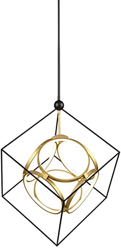 20 Wide Led Cube Chandelier Open Space Frame Modern Ring Diamond Pendant Lamp Two Tones Finish