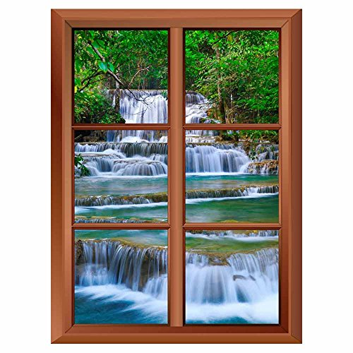 Removable Wall Sticker Wall Mural Cascading Forest Waterfall in Kanchanaburi Thailand Creative Window View Vinyl Sticker