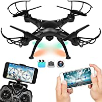 Drone Altitude Hold 2.4G 6-Axis FPV 720P HD Live Video WIFI Camera RC Voice Command Quadcopter, 2 Batteries & Power Bank
