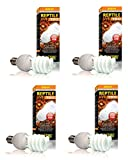 (4 Pack) Exo Terra Repti-Glo 10.0 Compact Fluorescent Desert Terrarium Lamp, 26 Watt