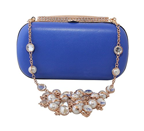 c11700364dd3 Chicastic Satin Hard Box Luxury Cocktail Clutch Purse with Rhinestone  Studded Chain Blue