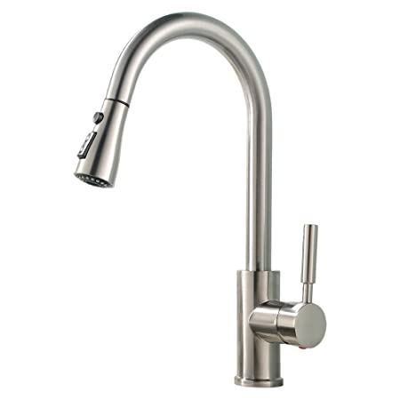 Vccucine Contemporary Brushed Nickel Single Handle Pull Out Spout