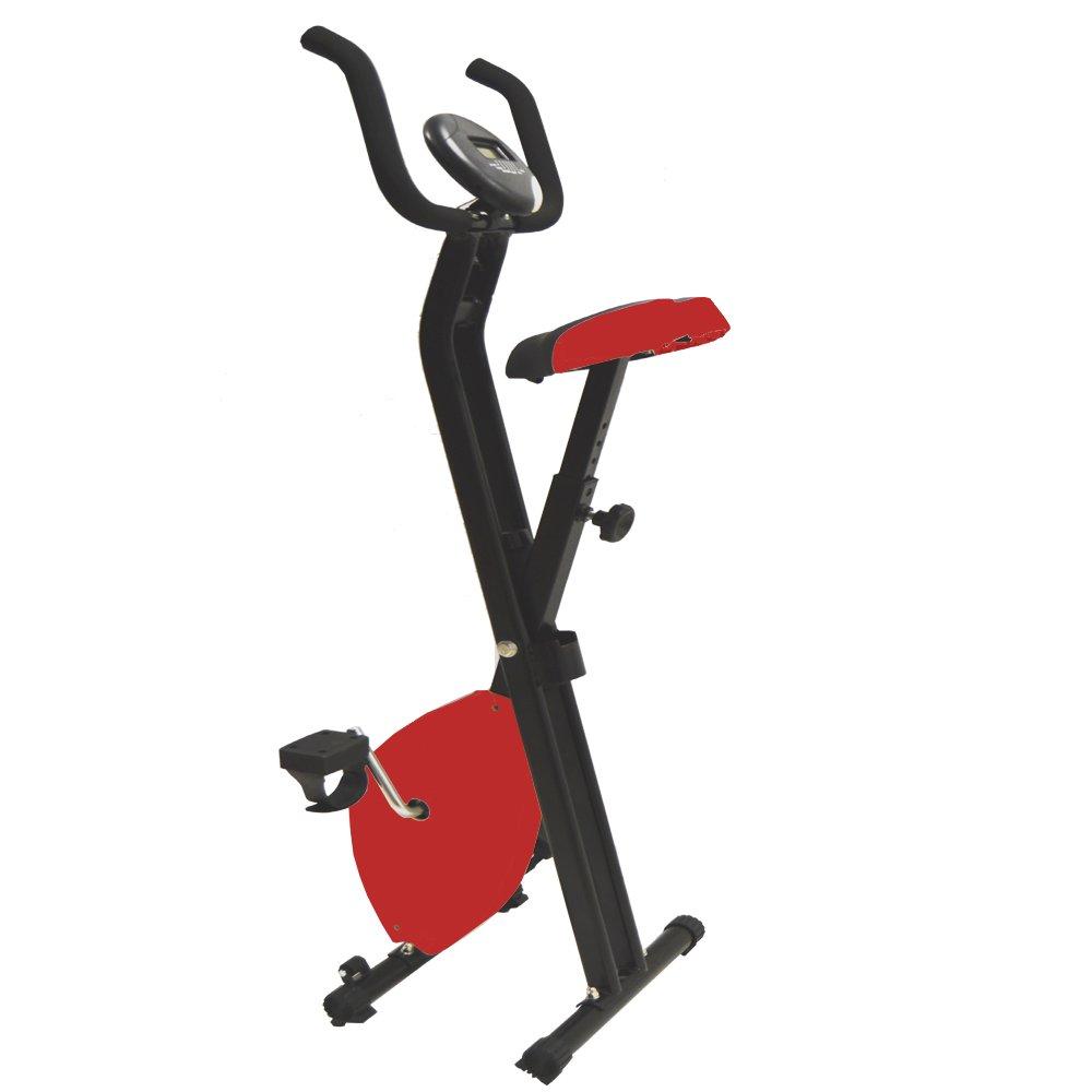 Style home Heimtrainer Fitnessger/ät Fitnessfahrrad Fitnessbike faltbar Digitale Anzeige Pulsmesser Ergometer Rot XB-A001
